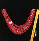 collare smerlato rosso del merletto del ricamo di 38*27cm, Applique Hme961 del Neckline del vestito dalle donne di banchetto
