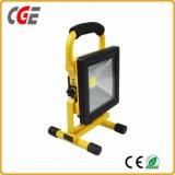 Al aire libre alimentados de batería portátil 10W/20W/30W de Jardín de Luz LED recargable proyector LED
