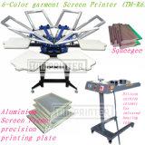 TM-R6 Manuel 6 couleurs de tissu de soie Machine d'impression de l'écran rotatif