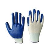 Gant enduit de sûreté de protection de main de nitriles bleus