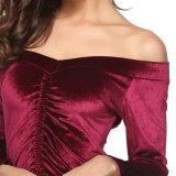 Frauen reizvoll weg Schulter-vom langen Hülsen-Partei-Kleid weg vom Schulter-Minikleid-Dame-Abend-Partei-Spielanzug nettes Esg10451