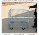 Гальванизированная роликом стальная складывая клетка хранения пакгауза, контейнер провода, клетки тары для хранения сетки с тракцией