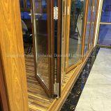 Madera que mira la puerta de plegamiento de cristal del doble de la aleación de aluminio