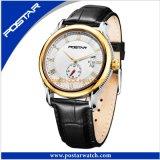 カスタマイズされたロゴのステンレス鋼の革水晶腕時計の贅沢な人の腕時計