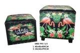 otomano Bench&#160 del almacenaje de la impresión del modelo del flamenco 2-PC; Muebles de madera de la sala de estar del tronco