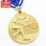 Médaille d'or en alliage de zinc d'article truqué de sport de récompense de souvenir double de nouveauté d'émail en métal mol latéral brillant fait sur commande bon marché chinois du logo 3D
