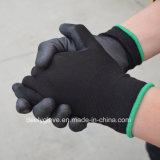 Перчатки PU безопасности PU Coated Glaves дешевых оптовых перчаток работы PU черноты работая промышленные перчатки