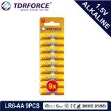 La batteria a secco alcalina con Ce ha approvato per il giocattolo 9PCS (formato di LR6-AA)
