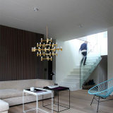 Modern Gold Glass Candle Shape Decoration Pendant Lamp LED Chandelier