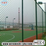 Cerca revestida verde de la conexión de cadena del PVC 2inch los 6FT para Sportsground
