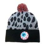 Les chapeaux/chapeaux de Beanie de jacquard de léopard faits sur commande plient avec la premiers bille/Pompom