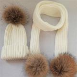 Las mujeres personalizado Raccoon Fur Pompom tejidas Beanie Hat
