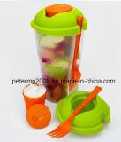 Fácil de llevar de viaje sin BPA taza de Ensalada de plástico con horquilla