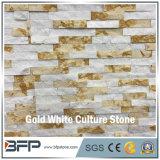 Mármore branco & dourado pedra empilhada da cultura da borda para a parede da caraterística