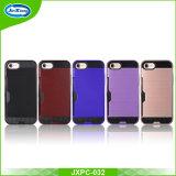PC+TPU antichoc conjuguent cas arrière de couche pour iPhone7, pour le cas de téléphone mobile de Kickstand d'hybride de l'iPhone 7