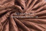 ShuのベルベティーンのSherpaの羊毛毛布-小さいブラウンを持つミンク