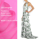 tela de seda impresa Digitaces floral de Georgette de los diseños de 14m m para señora Dress