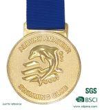 Hot Selling Casting Custom Gold Gold Sports Medalhas com fita