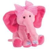 Pink Sitting Fluffy Soft Plush Cute Elephant Option CE Toy