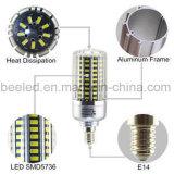 Lâmpada de prata branca fresca do bulbo do diodo emissor de luz do corpo da cor da luz E14 20 do milho do diodo emissor de luz