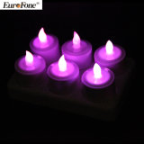 Set hellen flammenlosen LED nachladbaren Tealight Kerze der 6 Purpur-