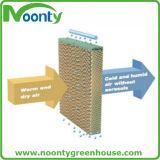 Gewächshaus-Kühlsystem mit Absaugventilator und abkühlende Auflage