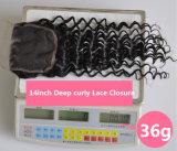 중앙 또는 Free/3 부품에 의하여 표백되는 매듭 브라질 Virgin 머리 레이스 상단 마감 스위스 레이스 처리되지 않은 깊은 곱슬머리 Lbh 271