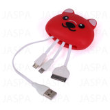 Forma animal 4 em 1 cabo Multifunction do USB