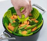 野菜食糧フルーツの折るシリコーンの汽船のバスケットのこし器