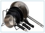 Organizador do suporte da cremalheira da tampa do potenciômetro de Bakeware da cozinha (preto)