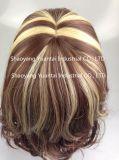 Color mixto largo rizado peluca de cabello sintético
