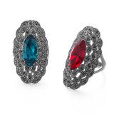 Сапфир серебра сбор винограда VAGULA и голубое кольцо ювелирных изделий Rhinestone