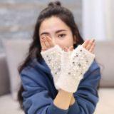 Winter-weiche strickende Wolle-Fingerless Handschuhe mit handgemachter Birnen-Einlegearbeit