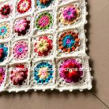 Kundenspezifische neue Entwurfs-Fantasie-dekoratives Hand Knitted Häkelarbeit-Blumen-Kissen