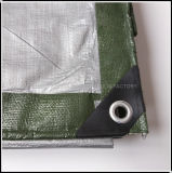 Corrosiebestendig Groen en Zilveren PE Geteerd zeildoek voor de Loods van het Bewijs van de Schok
