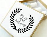 """Zult u Mijn Bruidsmeisje zijn? Het Vakje van de Gift van het Huwelijk van het Voorstel van het bruidsmeisje in Grootte 3 1/2 """" X 3 1/2 """" X 1 1/2 """" (inbegrepen niet Toebehoren)"""