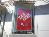 Facendo pubblicità all'acrilico illuminare in su la pagina del manifesto