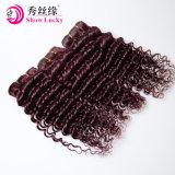 Aaaaaaaaaの等級100%の人間の毛髪は99j赤く深い波のバージンのカンボジアのヘアケア製品を束ねる
