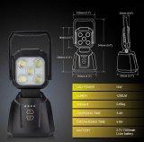 LED作業ライト、15W 1200lm LEDの点ライト再充電可能な磁気ベースLED洪水ライト