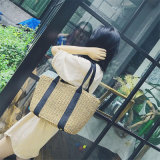 간단한 작풍 밀짚 물자 여가 숙녀 부대 핸드백 운반물