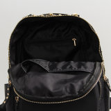Black Nylon Rivet Fashion Backpack Bag (15A055)