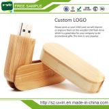 4GB que gira el palillo de madera de la memoria del mecanismo impulsor del flash del USB del bambú