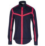 Camicia adatta di svago di modo del cotone della striscia del corpo dell'uomo di alta qualità