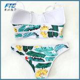 Diseño personalizado Sexy Bikini cremallera cuello alto Plus Size trajes de baño con la etiqueta
