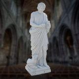 기초에 있는 담가 양을%s 가진 고맙게 여기는 백색 대리석 종교적인 동상
