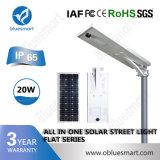 réverbère solaire rechargeable de 20W DEL avec le panneau solaire