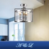 Design moderno tipo tambor 3-Metal Leve & lustre em vidro temperado Lâmpada pendente para o corredor, quarto, sala de estar, cozinha e sala de jantar (crómio)
