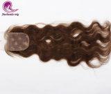 브라운 색깔 실크 기본적인 레이스 마감 브라질인 머리