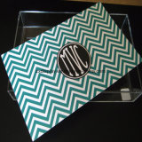 Acrílico transparente personalizado Introduzca la bandeja de papel, Acrílico bandeja con insertar el papel