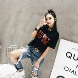 Новый раунд шеи пользовательские окрашенные женщин короткие втулки футболка